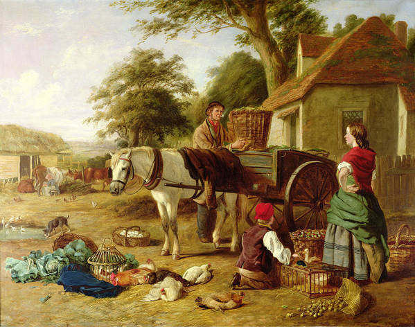 Rural; Farm; Horse; Harness; Poultry; Chickens; Ducks; Cows; Milking; Produce; Eggs; Cabbages; Bulbs; Farmyard; Farmhouse; Farmer; Family; Homegrown; Barrow; Victorian Art Print featuring the painting The Market Cart by Henry Charles Bryant