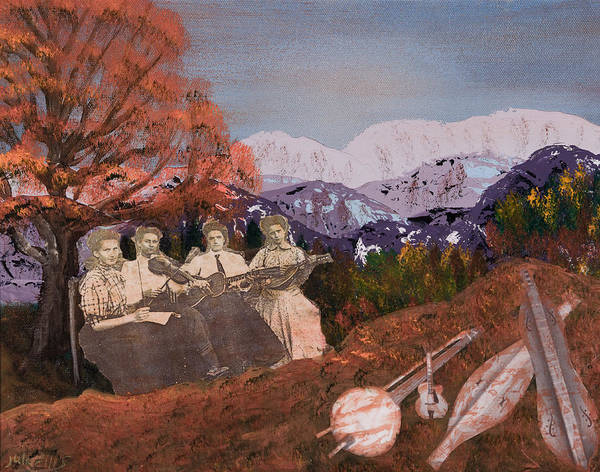 Landscapes Art Print featuring the painting The Music Ladies by Julia Ellis