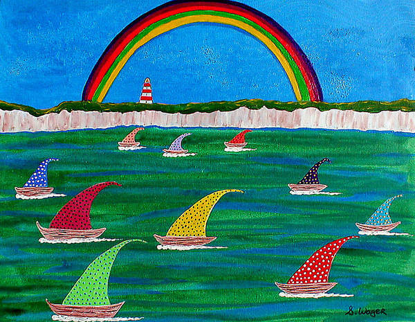 Rainbow Art Print featuring the painting The Race by Sandy Wager