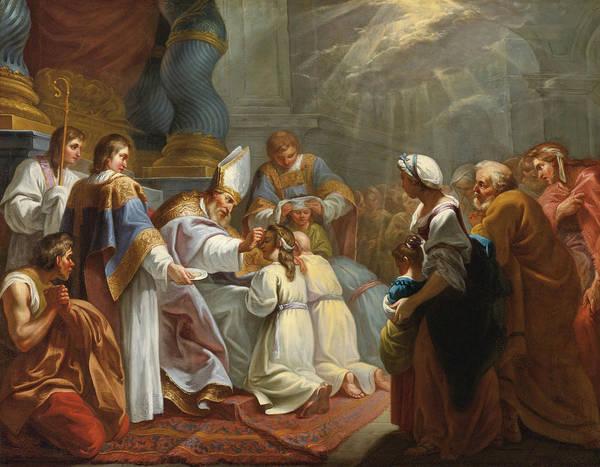 Jacques Dumont Le Romain Art Print featuring the painting The Sacrament Of Confirmation by Jacques Dumont le Romain