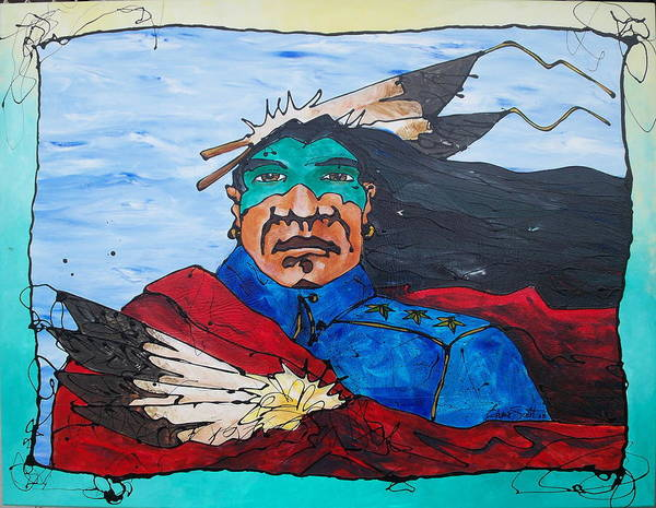 Native American Art Print featuring the painting Three Star General by Ernie Scott- Dust Rising Studios