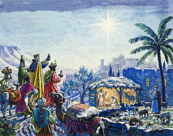 Infant; Baby; Birth; Jesus; Christ; Stable; Gifts; Present; Gold; Frankincense; Myrrh; King; Kings; Wise Men; Holy; Mary; Virgin; Madonna; Joseph; Family; Adoring; Worshipping; Stable; Landscape; Three; Christmas; Epiphany; Nativity; North Star; Infant; Baby; Birth; Jesus; Christ; Stable; Gifts; Present; Gold; Frankincense; Myrrh; King; Kings; Wise Men; Holy; Mary; Virgin; Madonna; Joseph; Family; Adoring; Worshipping; Stable; Landscape; Three; Christmas; Epiphany Print featuring the painting Three Wise Men by Unknown