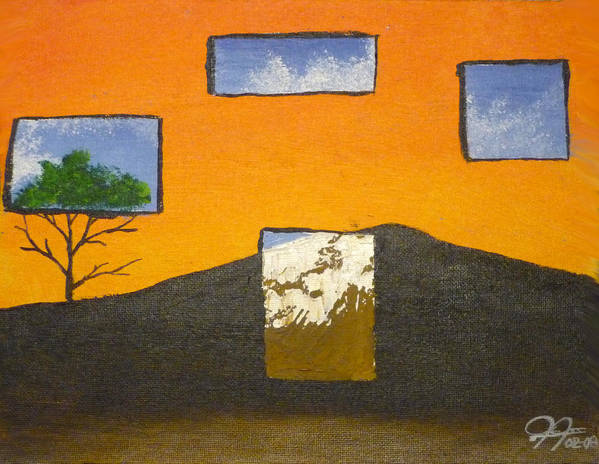 Landscape Art Print featuring the painting Through The Window by Christian Hidalgo
