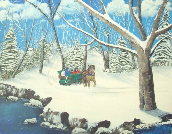 Snow Art Print featuring the painting to Grandmothers House by Brandy House