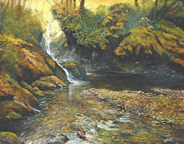 Landscape Art Print featuring the painting Toward The Source by Craig shanti Mackinnon