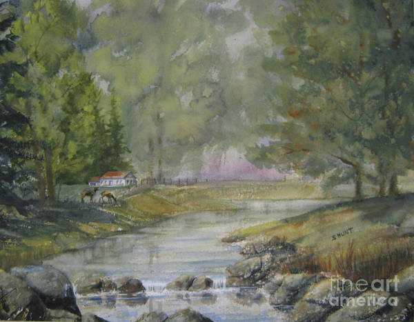 Landscape Art Print featuring the painting Tranquility by Shirley Braithwaite Hunt