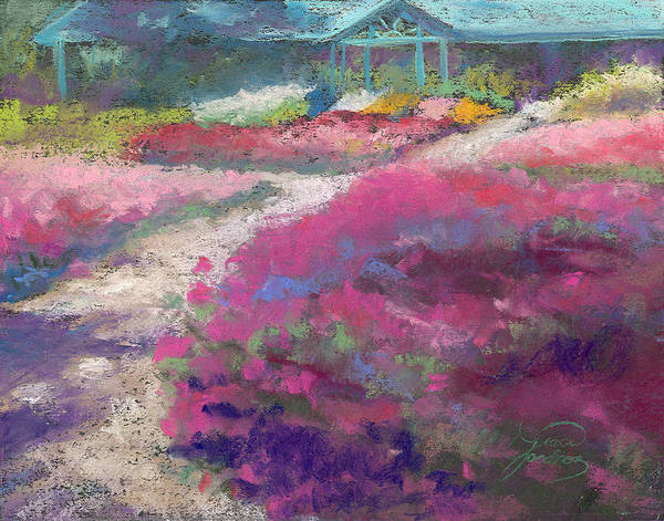 Landscape Art Print featuring the painting Trial Gardens In Fort Collins by Grace Goodson