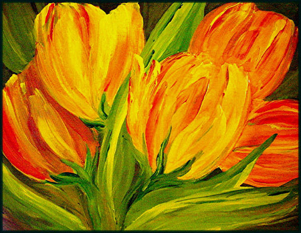 Flower Art Print featuring the painting Tulips Parrot Yellow Orange by Carol Nelissen