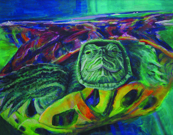 Turtle Art Print featuring the painting Turning by Gail Wartell