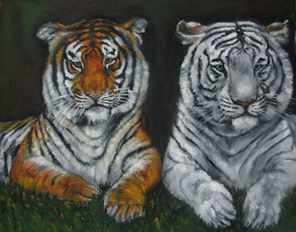 Tigers Art Print featuring the painting Two Tigers Oil Painting by Natalja Picugina