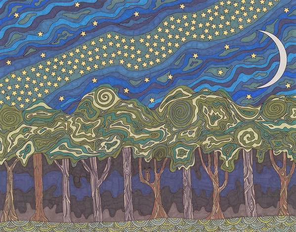 Milky Way Art Print featuring the drawing Under The Milky Way by Pamela Schiermeyer