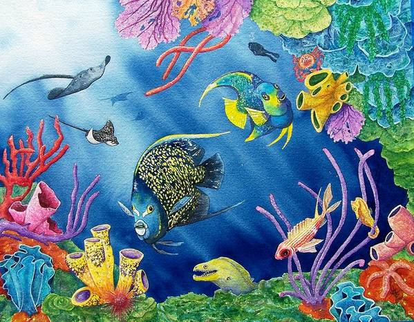 Undersea Art Print featuring the painting Undersea Garden by Gale Cochran-Smith