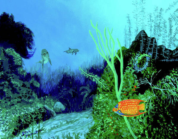 Wildlife Art Print featuring the painting Underwater by Stan Hamilton
