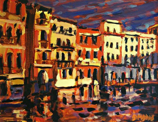 Paintings Art Print featuring the painting Venice Evening by Brian Simons