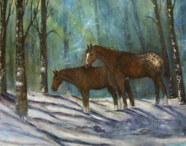 Horses Art Print featuring the painting Waiting For Spring by Darla Joy Johnson