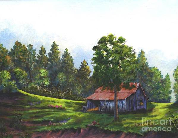 Landscape Art Print featuring the painting Walhalla Barn by Jerry Walker