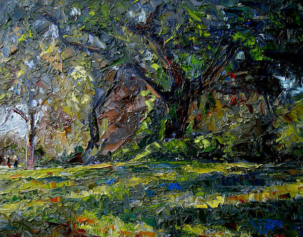 Plein Air Art Print featuring the painting Walk In The Woods by Mark Hartung