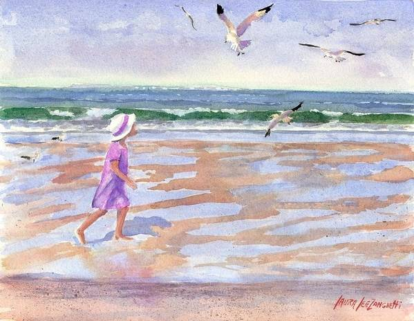 New England Art Print featuring the painting Walking The Cape by Laura Lee Zanghetti