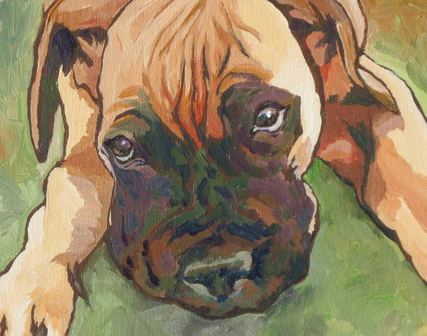 Dog Art Print featuring the painting Wanna Play by Sandy Tracey