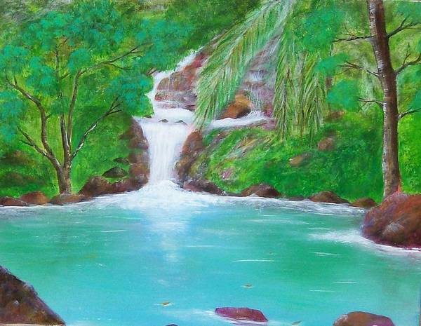 Waterfall Art Print featuring the painting Waterfall by Tony Rodriguez