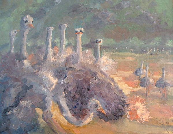 Ostrich Farm Art Print featuring the painting What Is He Doing Mable by Bryan Alexander