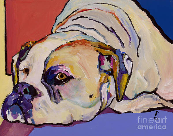 American Bulldog Art Print featuring the painting Where Is My Dinner by Pat Saunders-White