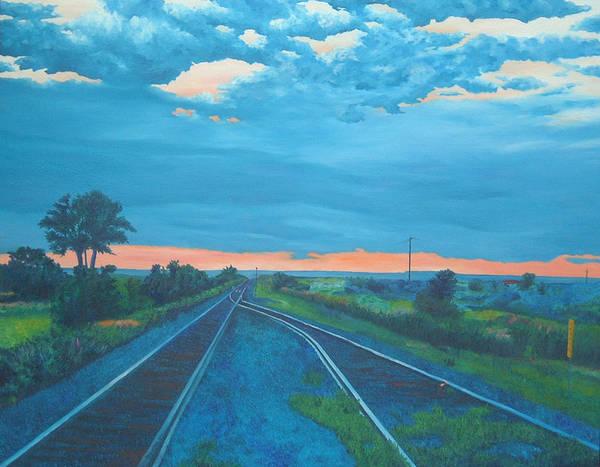 Railroad Tracks Art Print featuring the painting Where Little Boys Play by Blaine Filthaut