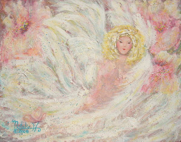 Angel Art Print featuring the painting White Feathers Secret Garden Angel 4 by Natalie Holland