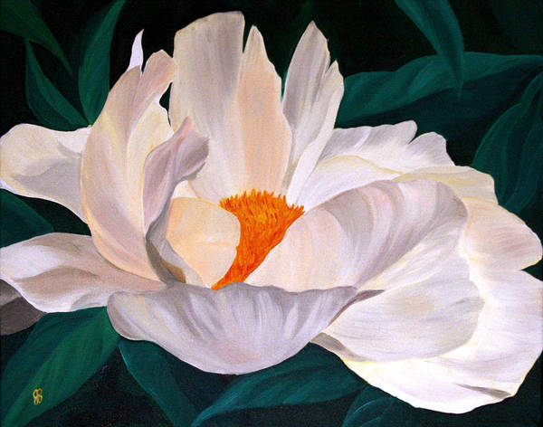 White Peony Art Print featuring the painting White Glow by Julie Pflanzer