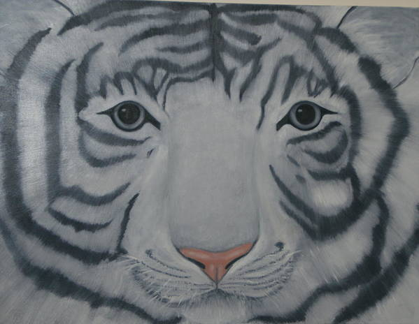 White Tiger Art Print featuring the painting White Tiger by Toni Berry