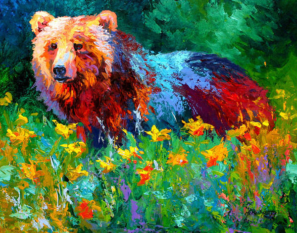 Bear Art Print featuring the painting Wildflower Grizz II by Marion Rose