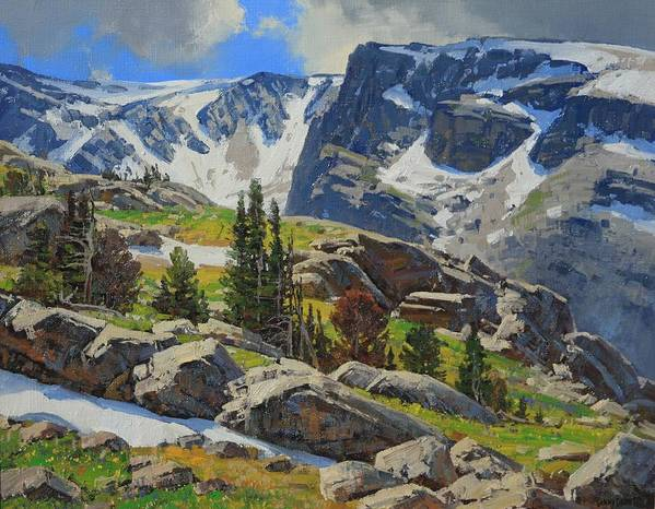 Landscape Art Print featuring the painting Wind River Range-wyoming by Lanny Grant