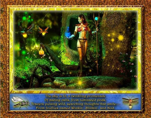 Fireflies Art Print featuring the digital art Winkin Blinkin And Nod by Austin Torney