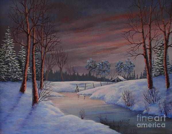 Landscape Art Print featuring the painting Winter Evening by Jerry Walker