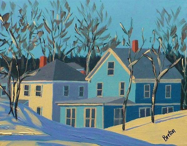 Cityscape Art Print featuring the painting Winter Linden Street by Laurie Breton