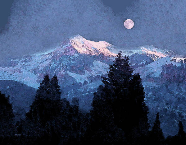 Snow Scene Art Print featuring the mixed media Winter Moon by Roger Bushman
