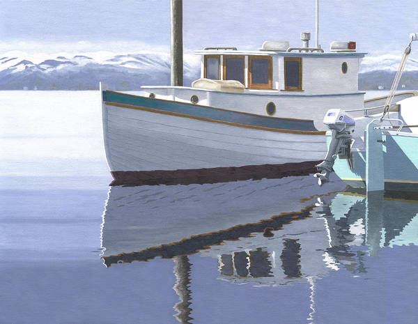 Marine Art Print featuring the painting Winter Moorage by Gary Giacomelli