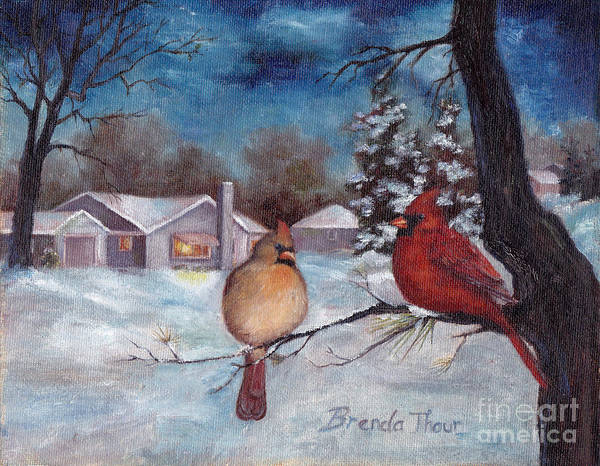 Cardinals Art Print featuring the painting Winters Serenity by Brenda Thour