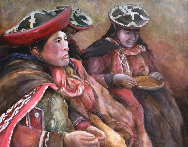 Andes Art Print featuring the painting Women Of The Andes by Jun Jamosmos