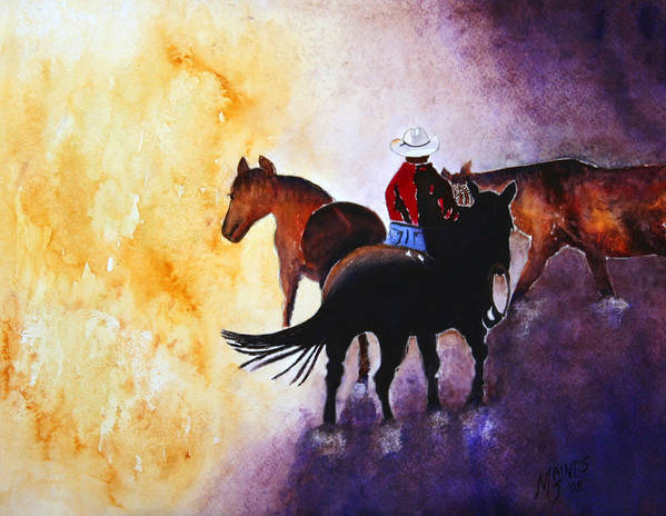 Rancher Art Print featuring the painting Wranglers Work Day by Mary Gaines