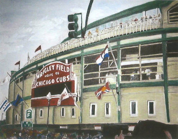 Wrigley Field Art Print featuring the painting Wrigley Field by Travis Day