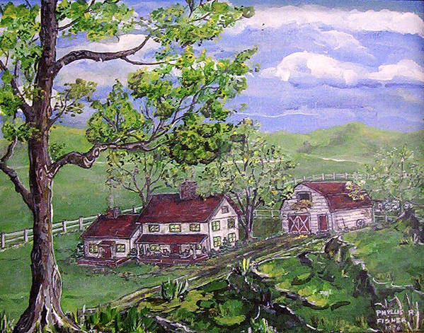 Landscape Art Print featuring the painting Wyoming Homestead by Phyllis Mae Richardson Fisher