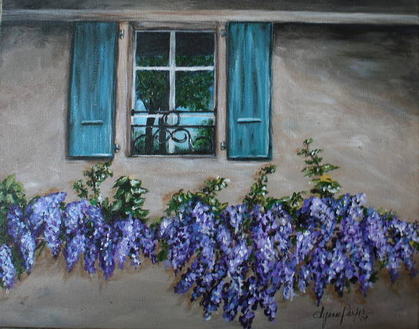Floral Art Print featuring the painting Wysteria View by Dyanne Parker