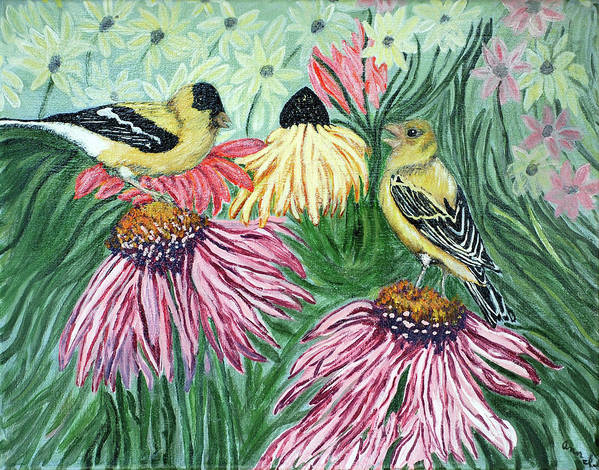 Finch Art Print featuring the painting Yellow Finches by Ann Ingham