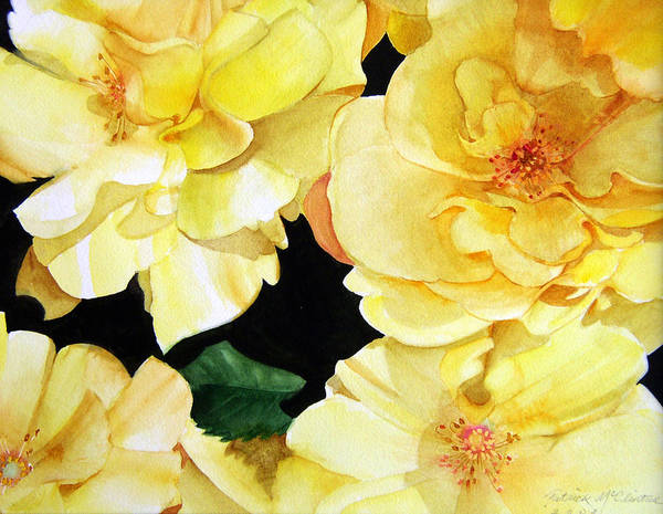 Floral Roses Art Print featuring the painting Yellow Roses by Patrick McClintock