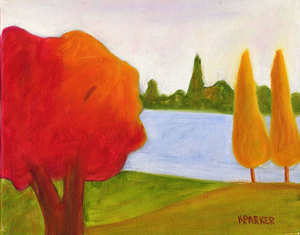 Landscape Art Print featuring the painting Yellow Trees by Kelly Parker