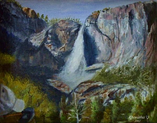 Waterfall Art Print featuring the painting Yosemite Waterfall by Quwatha Valentine