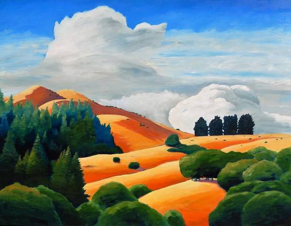 Clouds Art Print featuring the painting Clouds Over Windy Hill by Gary Coleman