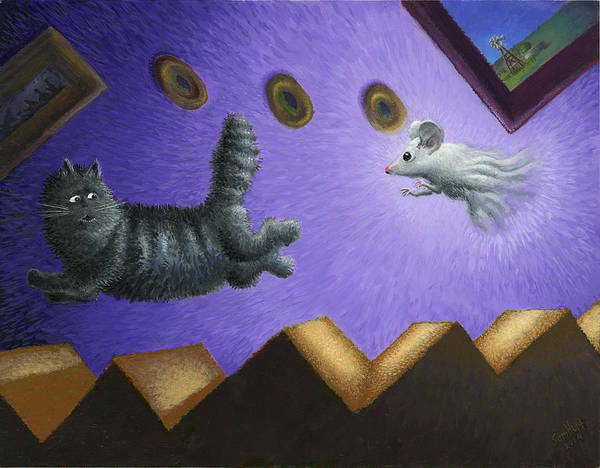 Cat Art Print featuring the painting Fair Play by Sam Hurt