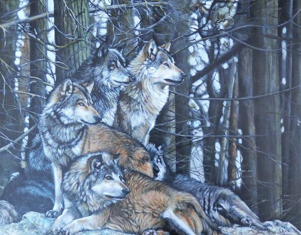Wolf Art Print featuring the painting Wolf Pack by John Neeve